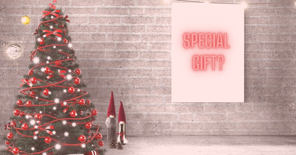 Christmas tree with Special gift sign