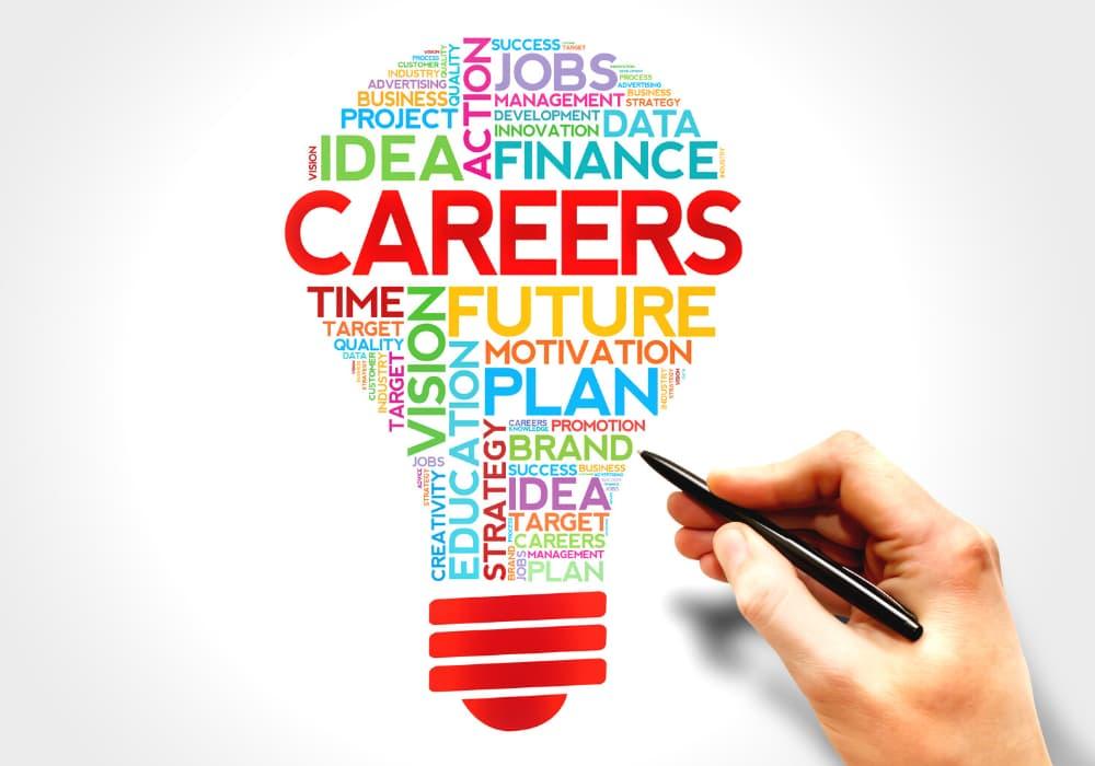 Careers word cloud on lightbulb